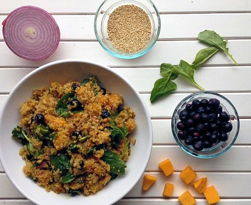 blueberry quinoa salad with kale and butternut squash