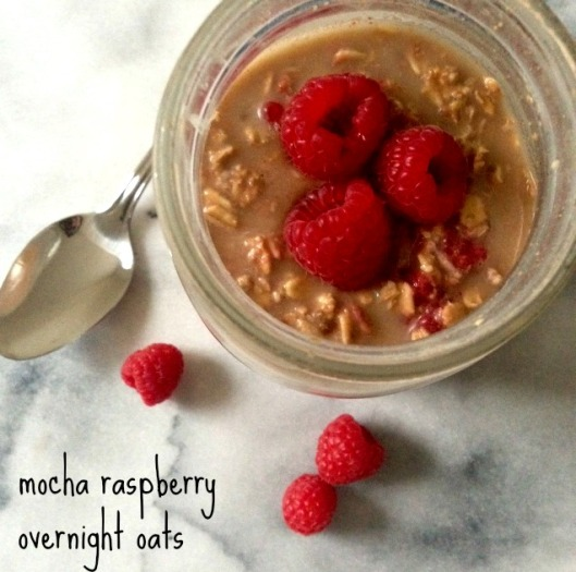 mocha raspberry overnight oats | The Nutrition Adventure