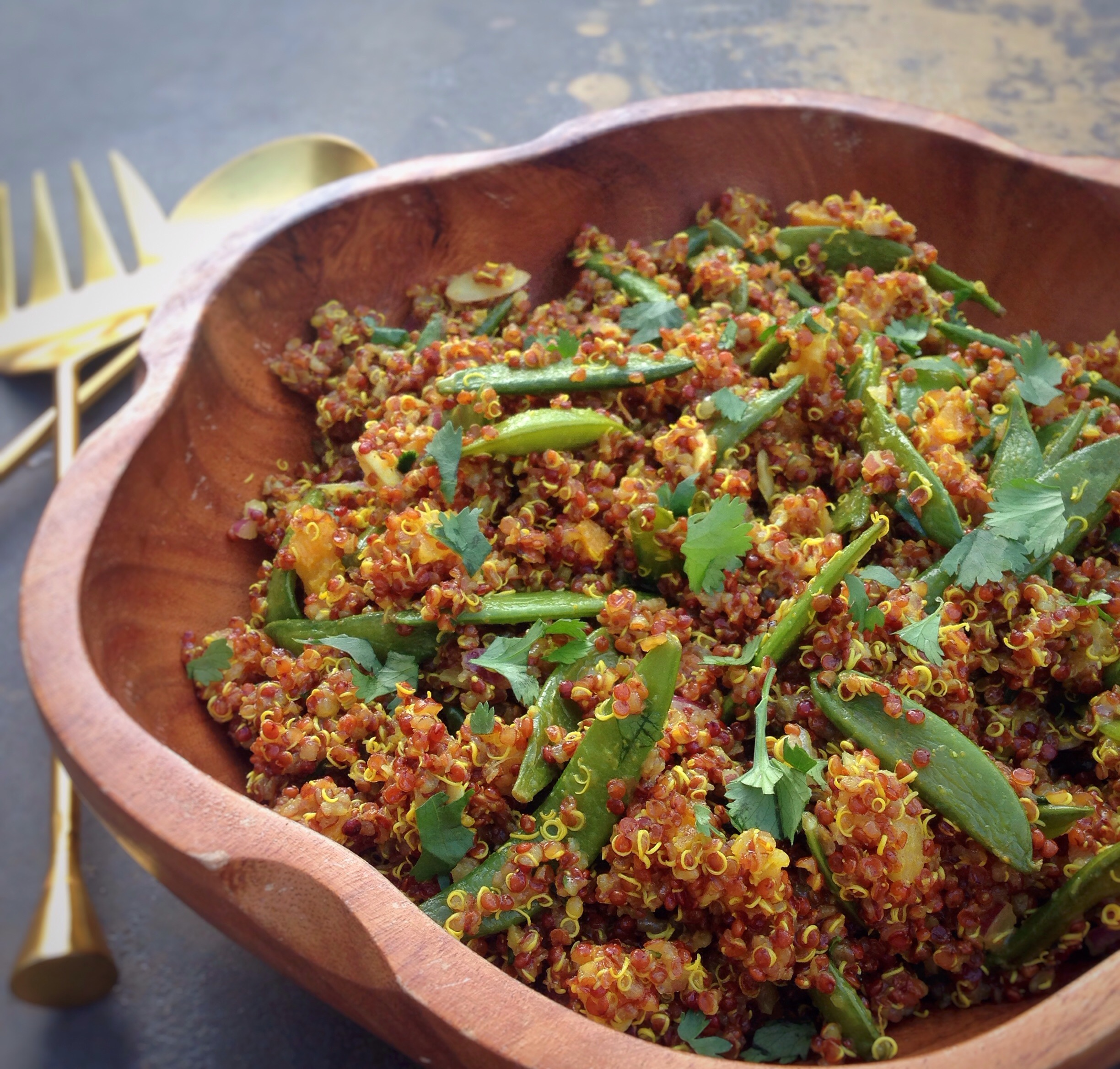 Curry Quinoa & Roasted Sugar Snap Peas
