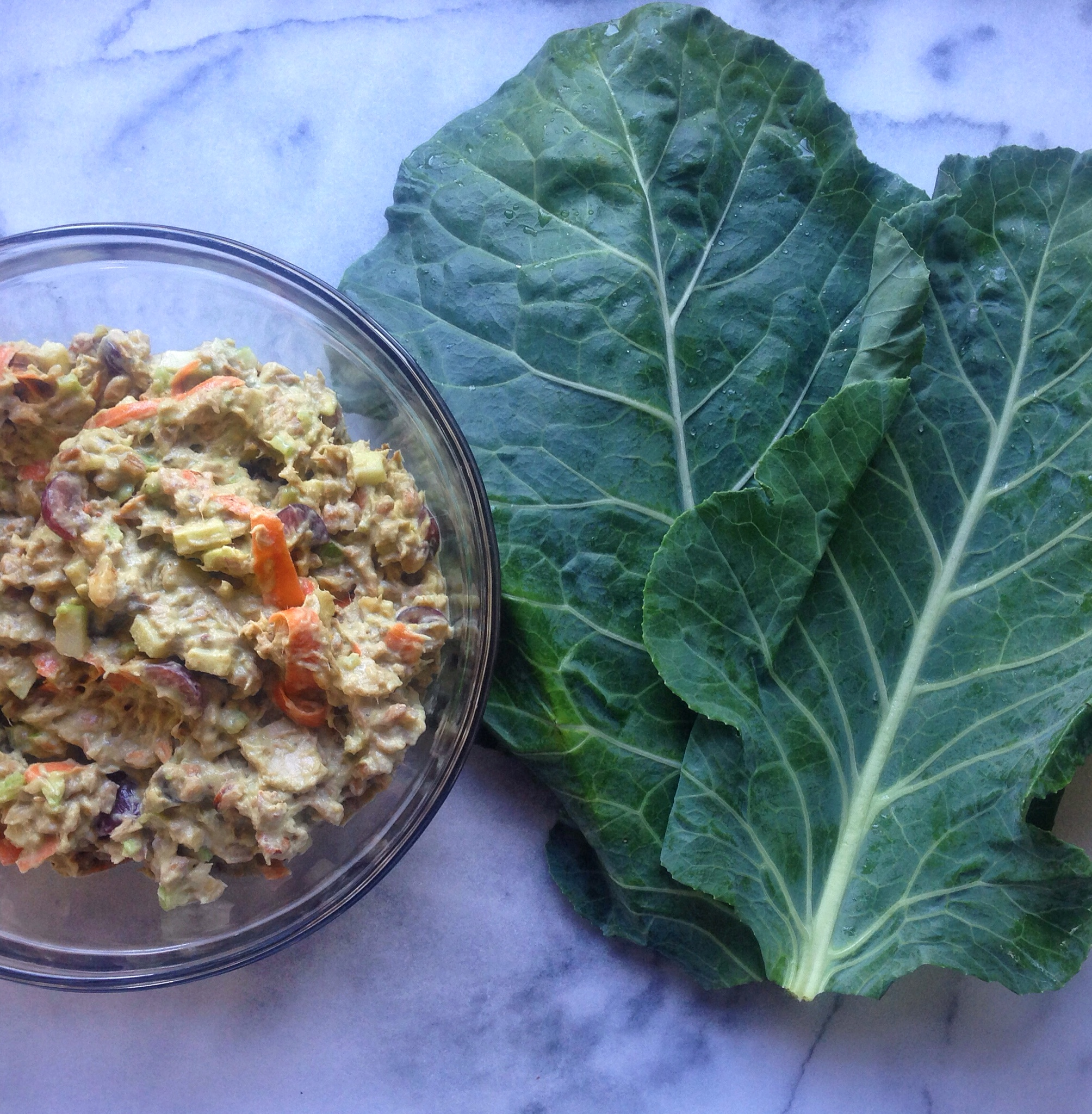 Tuna Waldorf Collard Wraps