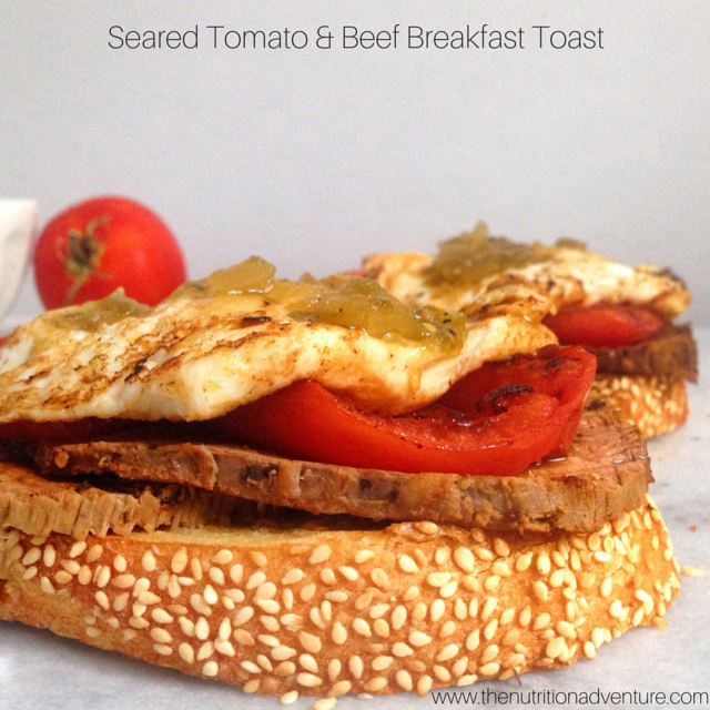 Enjoy beef at breakfast with this recipe for Seared Tomato & Beef Breakfast Toast