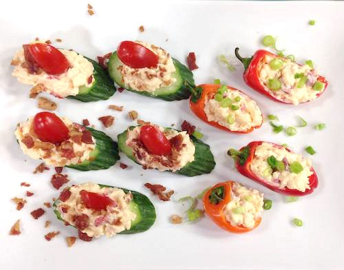 Pimento Cheese Peppers: A lightened up pimento cheese recipe via Holley Grainger